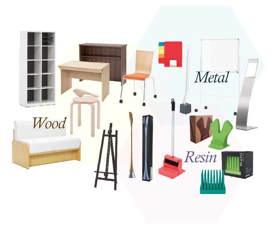木製品、金属加工製品、樹脂製品など多種多様な素材に対応できます