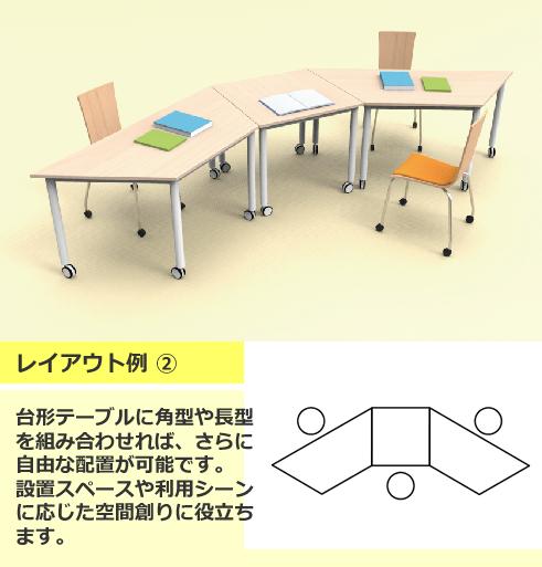 キャスターテーブル台形レイアウト例