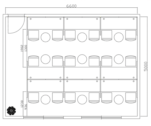 ブース型3人席デスクレイアウト例