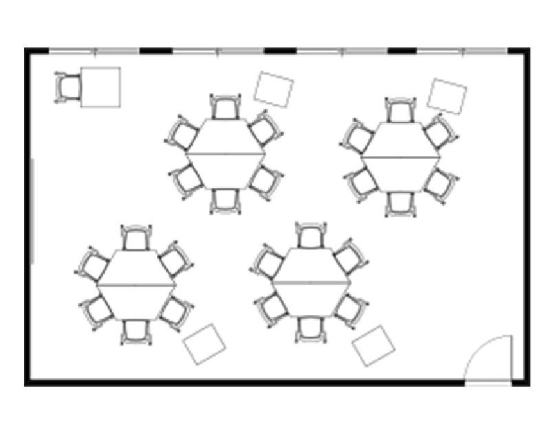 アクティブラーニングでのキャスターテーブルを使用したグループディスカッションレイアウト