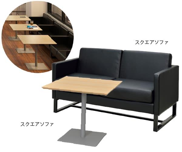 コワーキングスペースのカフェテーブル