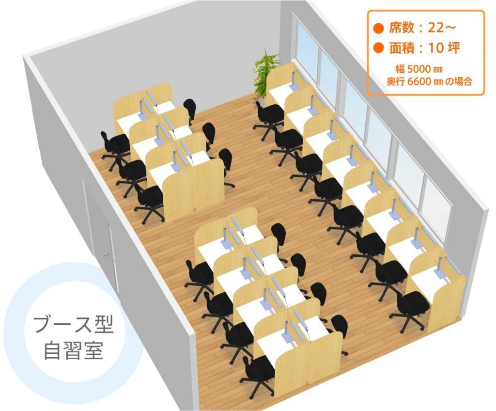 ブース型自習室のレイアウト例