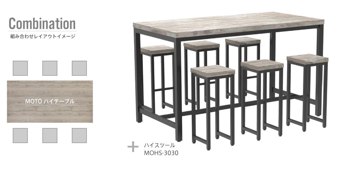 MOTOハイテーブルとハイスツールの組み合わせレイアウトイメージ